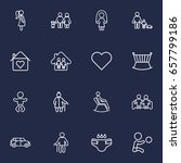 set of 16 family outline icons... | Shutterstock .eps vector #657799186