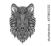 vector wolf. dog head made of... | Shutterstock .eps vector #657801232