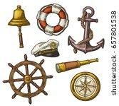 set sea adventure. anchor ... | Shutterstock .eps vector #657801538