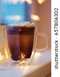 hot cocoa in cup with mini... | Shutterstock . vector #657806302