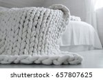 cozy white scandinavian bedroom ... | Shutterstock . vector #657807625