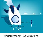 rocket crash and businesswoman. ... | Shutterstock .eps vector #657809125