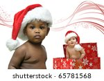 beautiful babies with christmas ... | Shutterstock . vector #65781568