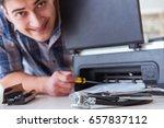 repairman repairing broken... | Shutterstock . vector #657837112