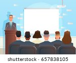 speech at the business... | Shutterstock .eps vector #657838105