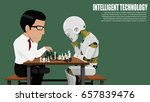 a man is playing chess with a... | Shutterstock .eps vector #657839476