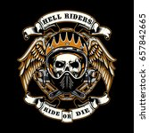 skull of biker in t shirt style ... | Shutterstock .eps vector #657842665