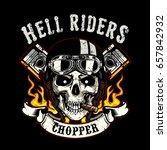 skull of biker in t shirt style ... | Shutterstock .eps vector #657842932