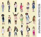 diverse of young girls children ... | Shutterstock . vector #657843136