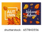 two autumn typographic paint... | Shutterstock .eps vector #657843556