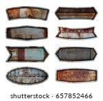 old steel metal sign plate... | Shutterstock . vector #657852466