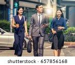 business people cross the... | Shutterstock . vector #657856168