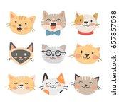cats heads vector illustration... | Shutterstock .eps vector #657857098