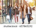 group of happy friends shopping ... | Shutterstock . vector #657865192