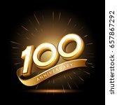 100 years golden anniversary... | Shutterstock .eps vector #657867292