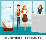 family travel by plane with...   Shutterstock .eps vector #657868756