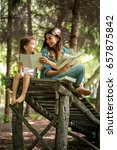 young mother and daughter... | Shutterstock . vector #657875842