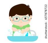 cute boy washing hands in... | Shutterstock .eps vector #657878722
