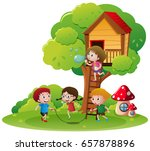 kids jumping rope in the park... | Shutterstock .eps vector #657878896