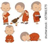 set of cartoon monks. vector... | Shutterstock .eps vector #657881575