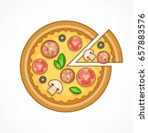 italian pizza with salami ... | Shutterstock .eps vector #657883576