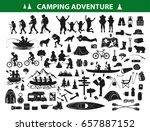 camping hiking silhouette... | Shutterstock .eps vector #657887152