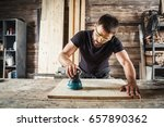 young man builder carpenter... | Shutterstock . vector #657890362