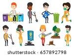 young caucasian man carrying... | Shutterstock .eps vector #657892798