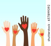 hands raising love with heart | Shutterstock .eps vector #657899392