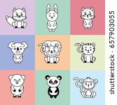 set cute and tender animals... | Shutterstock .eps vector #657903055