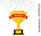 winner trophy gold cup with red ... | Shutterstock .eps vector #657904516