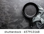 empty cast iron frying pan on... | Shutterstock . vector #657913168