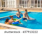 party at smimming pool. men and ... | Shutterstock . vector #657913222