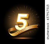 5 years golden anniversary logo ... | Shutterstock .eps vector #657917515