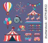set of circus elements isolated ... | Shutterstock .eps vector #657918922