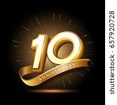 10 years golden anniversary...   Shutterstock .eps vector #657920728