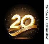 20 years golden anniversary... | Shutterstock .eps vector #657920752