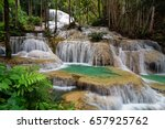 mae kae waterfall is unseen... | Shutterstock . vector #657925762