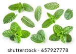 mint leaves isolated on white... | Shutterstock . vector #657927778