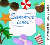 summer travel template with... | Shutterstock .eps vector #657941266
