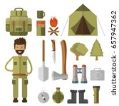 mountain camping elements. set... | Shutterstock .eps vector #657947362