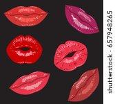 lips.mouth.set beauty fashion... | Shutterstock .eps vector #657948265