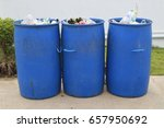 many blue trash can near the... | Shutterstock . vector #657950692