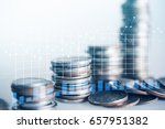 close up of rows coins for... | Shutterstock . vector #657951382