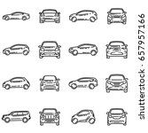 set of various cars front and... | Shutterstock . vector #657957166