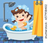 in bathroom  a baby girl taking ... | Shutterstock .eps vector #657958402