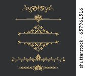 set of gold calligraphical ... | Shutterstock .eps vector #657961516