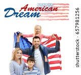 Small photo of Text AMERICAN DREAM and family with USA flag on white background