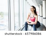 beautiful young girl with fit... | Shutterstock . vector #657986086