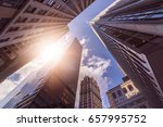 low angle shot of office towers ... | Shutterstock . vector #657995752